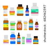 medicine bottles flat set....   Shutterstock . vector #682462597