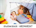 two girls at a slumber party | Shutterstock . vector #682468267