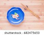 top view of shrimps in blue... | Shutterstock . vector #682475653