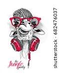 giraffe in a knitted hipster... | Shutterstock .eps vector #682476037