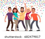 happy people celebrate an... | Shutterstock .eps vector #682479817