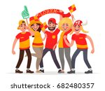 happy fans are cheering for... | Shutterstock .eps vector #682480357