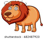 lion with dizzy face... | Shutterstock .eps vector #682487923