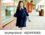 adorable brunette  kid girl in... | Shutterstock . vector #682493083