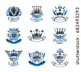imperial crowns emblems set.... | Shutterstock .eps vector #682493293