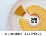 Stock photo job recruiting advertisement represented by come join us texts on the plate surrounded by the 682495603