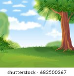 cozy green lawn under a shady... | Shutterstock .eps vector #682500367