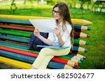 adorable young  schoolgirl  in... | Shutterstock . vector #682502677