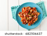 pappardelle pasta with tuna  in ... | Shutterstock . vector #682506637