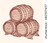 old woods kegs. barrel for...   Shutterstock .eps vector #682507657