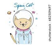 cat astronaut. space cat in... | Shutterstock .eps vector #682509697