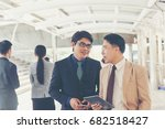 businessmen contact and discuss ... | Shutterstock . vector #682518427