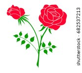 silhouette of a rose in a... | Shutterstock .eps vector #682537213