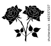 silhouette of a rose in a... | Shutterstock .eps vector #682537237