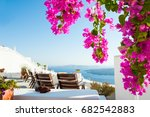 beautiful terrace with flowers  ... | Shutterstock . vector #682542883
