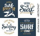 surfing artworks set   surf... | Shutterstock .eps vector #682565467