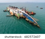 boat crashes in the sea  cruise ... | Shutterstock . vector #682572607
