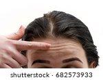 girl points finger at the... | Shutterstock . vector #682573933