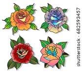 vector rose set tattoo designs | Shutterstock .eps vector #682593457