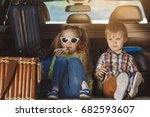 travel by car family trip... | Shutterstock . vector #682593607