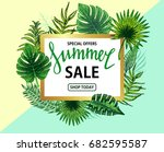 sale banner  poster with palm... | Shutterstock .eps vector #682595587
