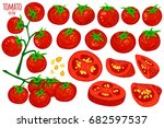 set of fresh healthy red... | Shutterstock .eps vector #682597537
