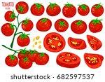 set of fresh healthy red... | Shutterstock .eps vector #682597537