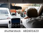 driving a car during traffic...   Shutterstock . vector #682601623
