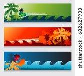summer horizontal beach... | Shutterstock .eps vector #682627933