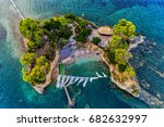 aerial view agios sostis with... | Shutterstock . vector #682632997