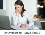businesswoman thinking of idea...   Shutterstock . vector #682645513