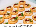 cheese canape with chili on... | Shutterstock . vector #682654963