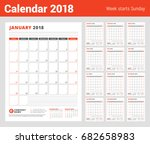 calendar template for 2018 year.... | Shutterstock .eps vector #682658983
