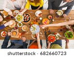 served table top view  dinner.... | Shutterstock . vector #682660723