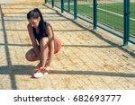 beautiful girl sportswoman... | Shutterstock . vector #682693777