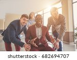 we are the winners  four young...   Shutterstock . vector #682694707