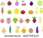 cute fruits and vegetables set... | Shutterstock . vector #682705123
