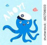 cute octopus illustration for... | Shutterstock .eps vector #682708033
