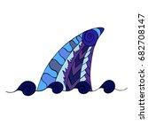 hand drawn ornamental shark fin.... | Shutterstock .eps vector #682708147