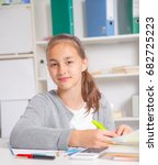 teenage girl preparing for... | Shutterstock . vector #682725223