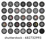car wheels set | Shutterstock .eps vector #682732993