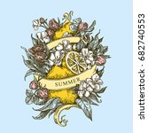 summer. lemon and strawberry....   Shutterstock .eps vector #682740553