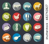 butchery vector icon set | Shutterstock .eps vector #682742827