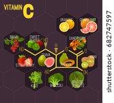 high vitamin c foods. healthy...   Shutterstock .eps vector #682747597