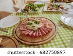 sausage  prosciutto cheese on a ... | Shutterstock . vector #682750897
