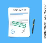 approved document with stamp... | Shutterstock .eps vector #682757917