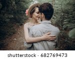stylish hipster bride and groom ... | Shutterstock . vector #682769473