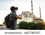 a traveler with virtual reality ... | Shutterstock . vector #682780207