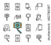 vector black line selfie icons... | Shutterstock .eps vector #682780387