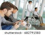man using smartphone in... | Shutterstock . vector #682791583